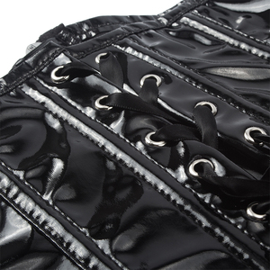 Image 5 - Цветочный Готический Фетиш однотонный черный корсет, сексуальное стройнящее бюстье из ПВХ, винил, на шнуровке, на спине, под грудью, в стиле панк, Корректирующее белье, на талии, Cincher