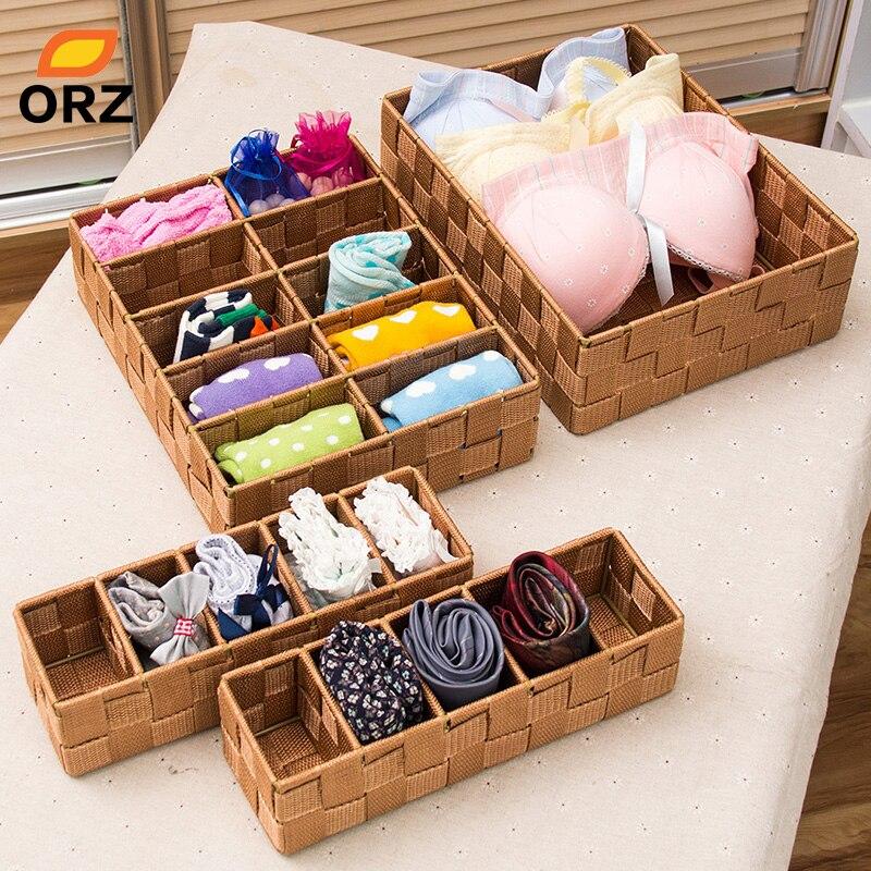 ORZ Cloth Storage Box Closet Dresser Drawer Organizer Basket Bins Containers For Underwear Bras Socks Drawer
