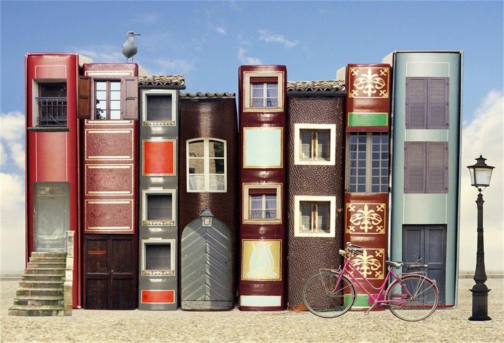 Laeacco Сказочный Дом книги Декор внешний свет велосипед фото Фоны Индивидуальные фотографии фонов для фотостудии