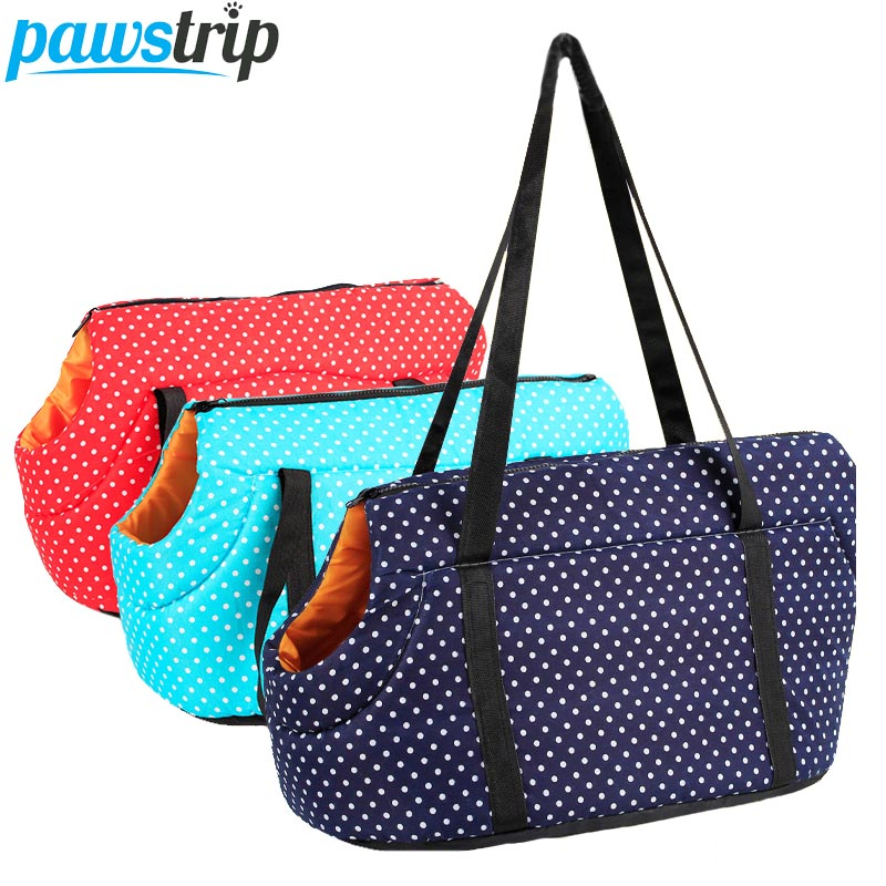 Pawstrip Dot Print Pet Dog Carrier Sling Winter Warm Cat Carrier Outdoor Travel Small Dog Shoulder Bag For Chihuahua S/l