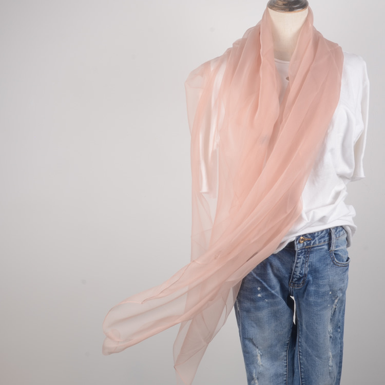 Super Long 100% Real Silk Long Scarf Winter Summer Vacation Solid Color Multi Colors Light Clear Long Silk Scarf Silk Stole