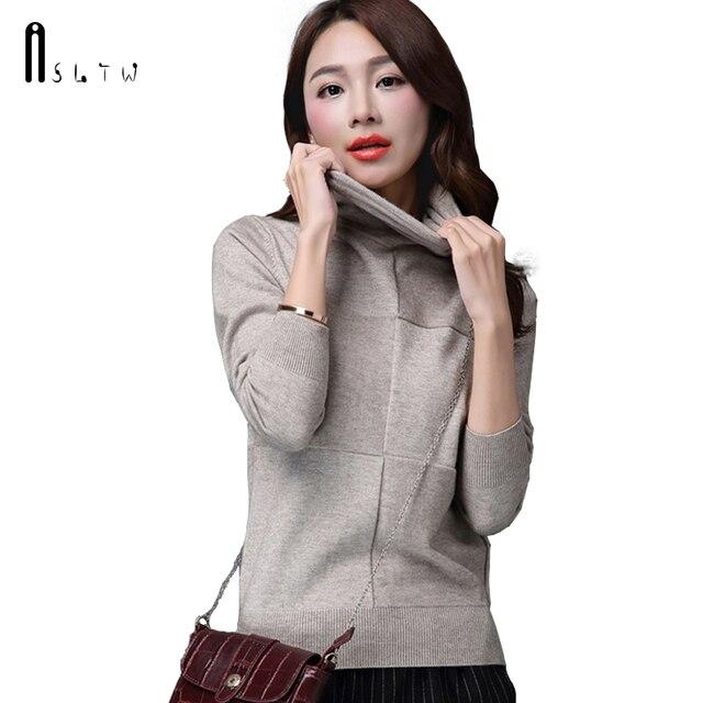 ASLTW Women's Sweater New Casual Solid Turtleneck Pullover Sweater Women Casaco Feminino Long Sleeve Jumper