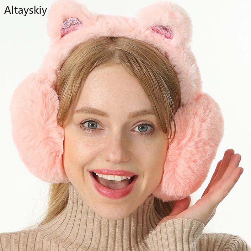Earmuffs Women Soft Cotton Plush New Womens Cat Ears Faux Rabbit Fur Antifreeze High Elasticity Korean Style Trendy Cute Earmuff
