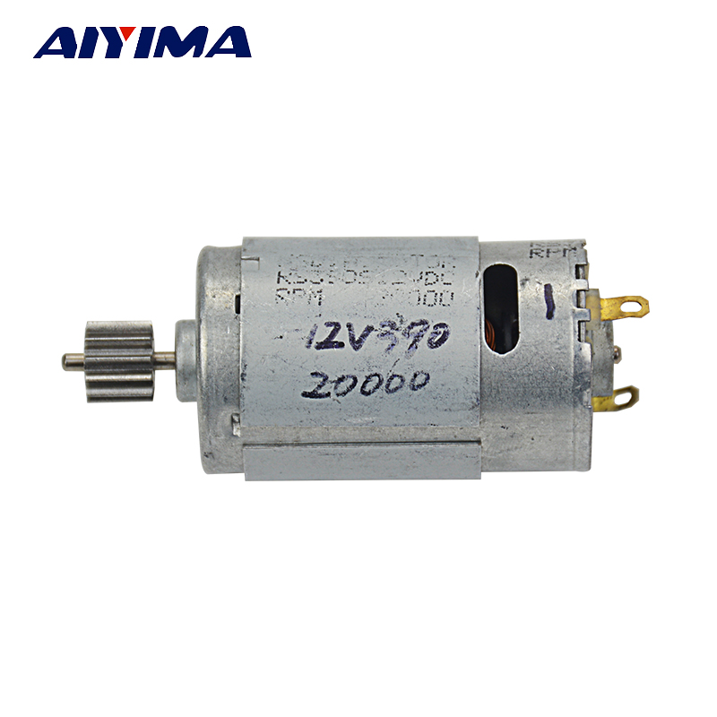 Aiyima 1pc DC motor for electric vehicle 12V RS390 12T 15-25W 16000RPM Children's electric motorcycle motor high power запчасти для детского транспорта motor 6v 12v rs390