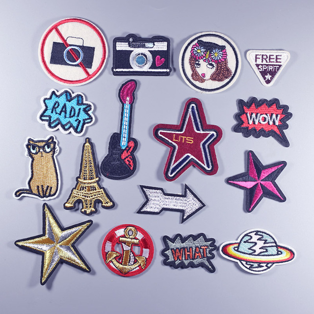 Camera planet cat what wow girl star Iron On Embroidered Patches Clothes  Cartoon Badge patch Garment