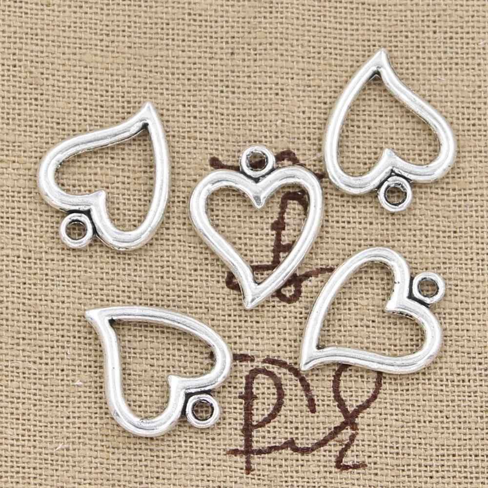 12 шт. Подвески полое сердце 18x15 мм антикварное изготовление кулон подходит, винтажная тибетская Серебряная бронзовая, DIY браслет ожерелье