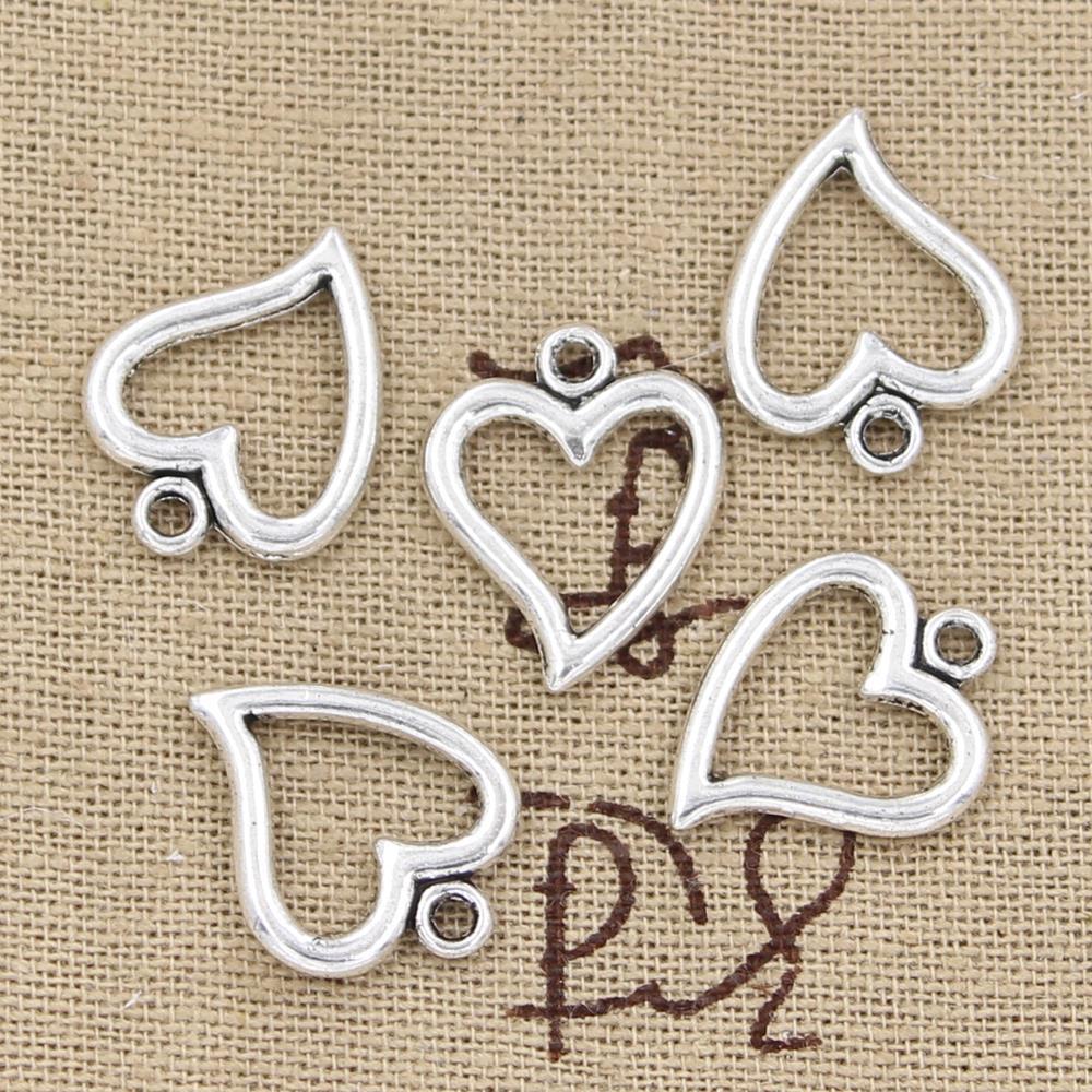 12pcs Charms hollow heart 18x15mm Antique Making pendant fit,Vintage Tibetan Silver,DIY bracelet necklace