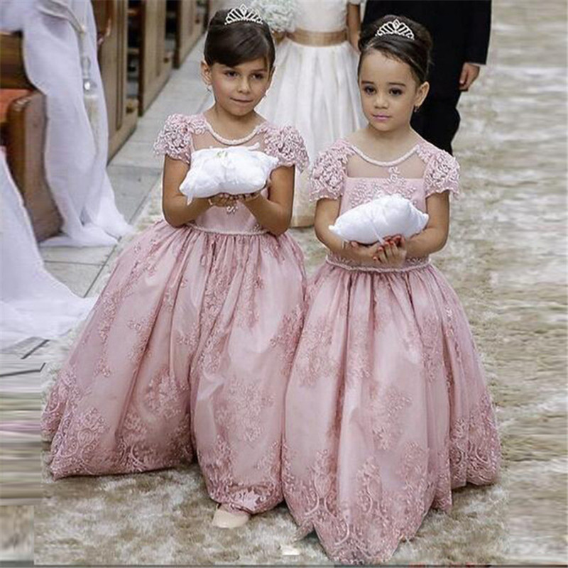 M384 2018 Pink Long Ball Gown   Flower     Girl     Dresses   For Wedding Party O Neck Short Sleeves Appliques Beading Kids Prom   Dresses