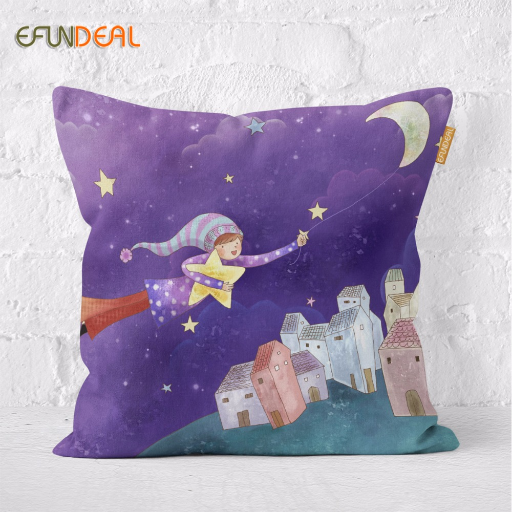 Kids Room Decorative Cartoon Cushion Cover Moon Fish Star night Thick Cotton Linen Pillow Case Boy Girl Room 45x45cm/60x60c