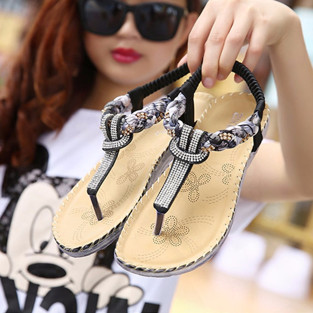 Summer SIKETU Ethnic Style Bohemian Rhinestone Sandals Women Shoes For Summer For Vacations Thongs Braid Flats sandals mujer