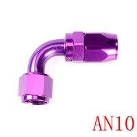AN10 Aluminio Anoized 90 Degree Swivel Extremo de Manguera de Montaje Petróleo Fuel Line Adaptador Fuel Oil Adaptador del Refrigerador de Aceite Kit Púrpura