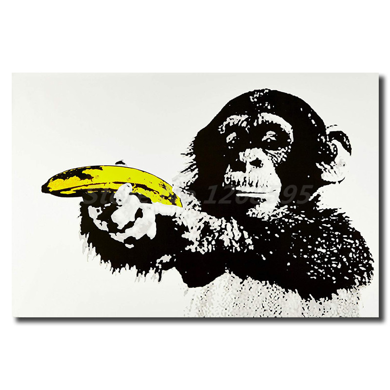 Monkey Banana Gun By Banksy Picture Reprint On Framed Canvas Wall Art Home Decor