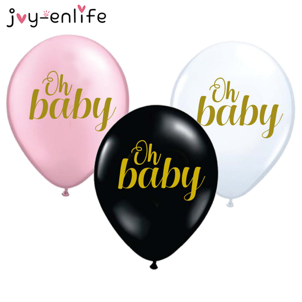JOY-ENLIFE 10pcs 12 Inch Black/White/Pink oh baby Latex Balloon Birthday Party Children Kids Party Decor Baby Shower Supplies