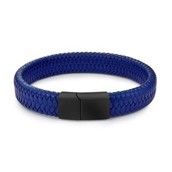 Braided Leather Men's Bracelet with Magnetic Stainless Steel Clasp Bracelets Hot Promotions Jewelry Men Jewelry New Arrivals Metal Color: Blue 2 Length: 22cm
