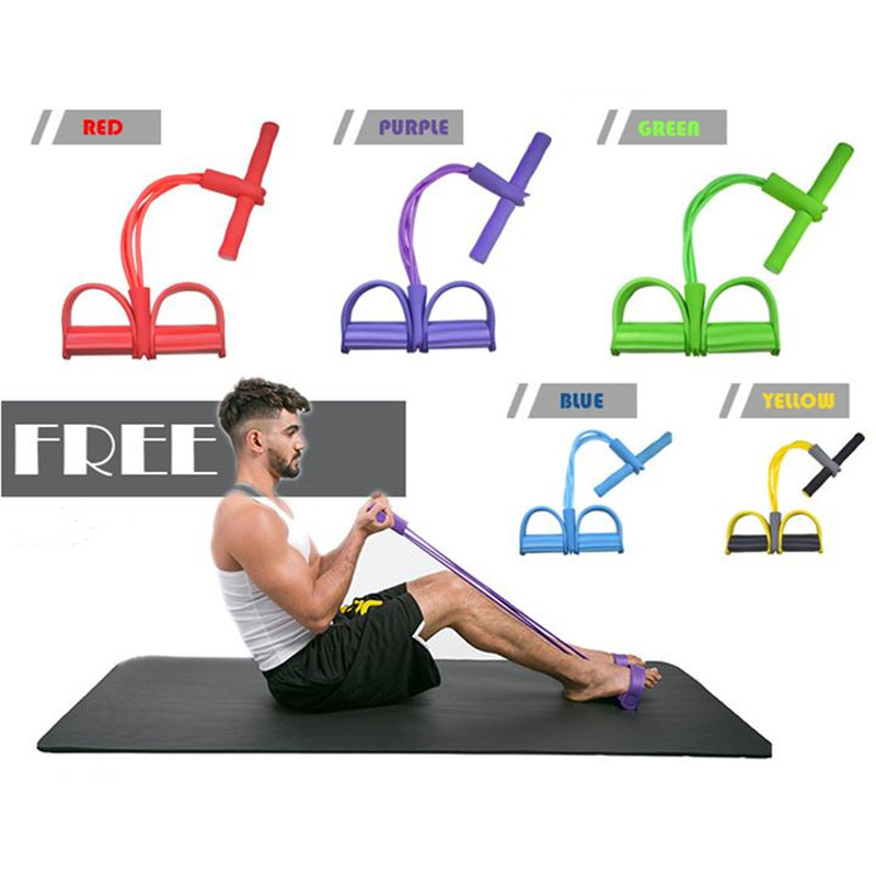 Four Tubes Elastic Band Fitness Equipment Sit-up Rally Yoga Resistance Bands Foot Pedal Waist Hip Lap Belly Body Fitness Tool