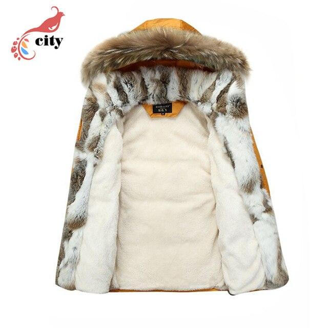 Natural Rabbit Fur Liner Woman Man Couple Down Parkas ,2018 New Fur Hooded Thick Cotton Coat ,Super Warm Winter Jackets