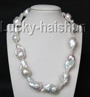 Продажи украшения> блеск 17,5 33 мм белый Reborn Кеши жемчуг ожерелье заполнено золото застежка