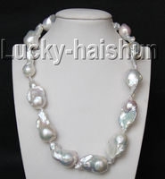 Selling Jewelry>>luster 17.5 33mm white Reborn keshi pearls necklace filled gold clasp