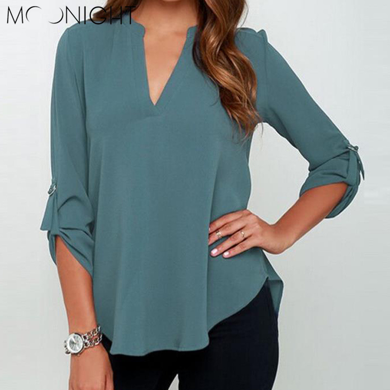 MOONIGHT Half Sleeve V-neck Linen Blouses Women Loose Casual Shirt Solid Blouses Chiffon Tops