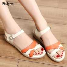 Women sandals shoes concise Genuine leather  soft comfortable flat sandals ladies casual sandals women summer 2019 gktinoo woman genuine leather flat sandals summer shoes casual comfortable flower sandals women sandals big size