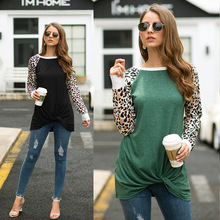 New loose leopard female long-sleeved shirt hot sale camouflage ladies T-shirt casual round neck stitching