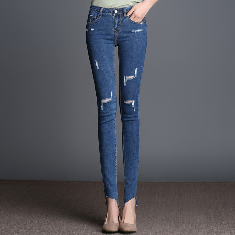 2017 Spring New Knee Ripped Hole Stretch Ankle Length Jeans Female Large Size Elastic Pencil Pants Plus Size 26-40 Dark Blue rosicil new women jeans low waist stretch ankle length slim pencil pants fashion female jeans plus size jeans femme 2017 tsl049