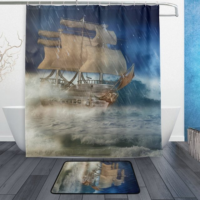 Ocean Sea Nautical Marine Life Shower Curtain And Mat Set Fantasy Pirate Ship Waterproof Polyester Bathroom