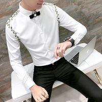 Mens Black Dress Shirts Stage Clothes Mens Longsleeves For Mens Fashion 2018 White Straps Camisa Social Masculina Slim Fit
