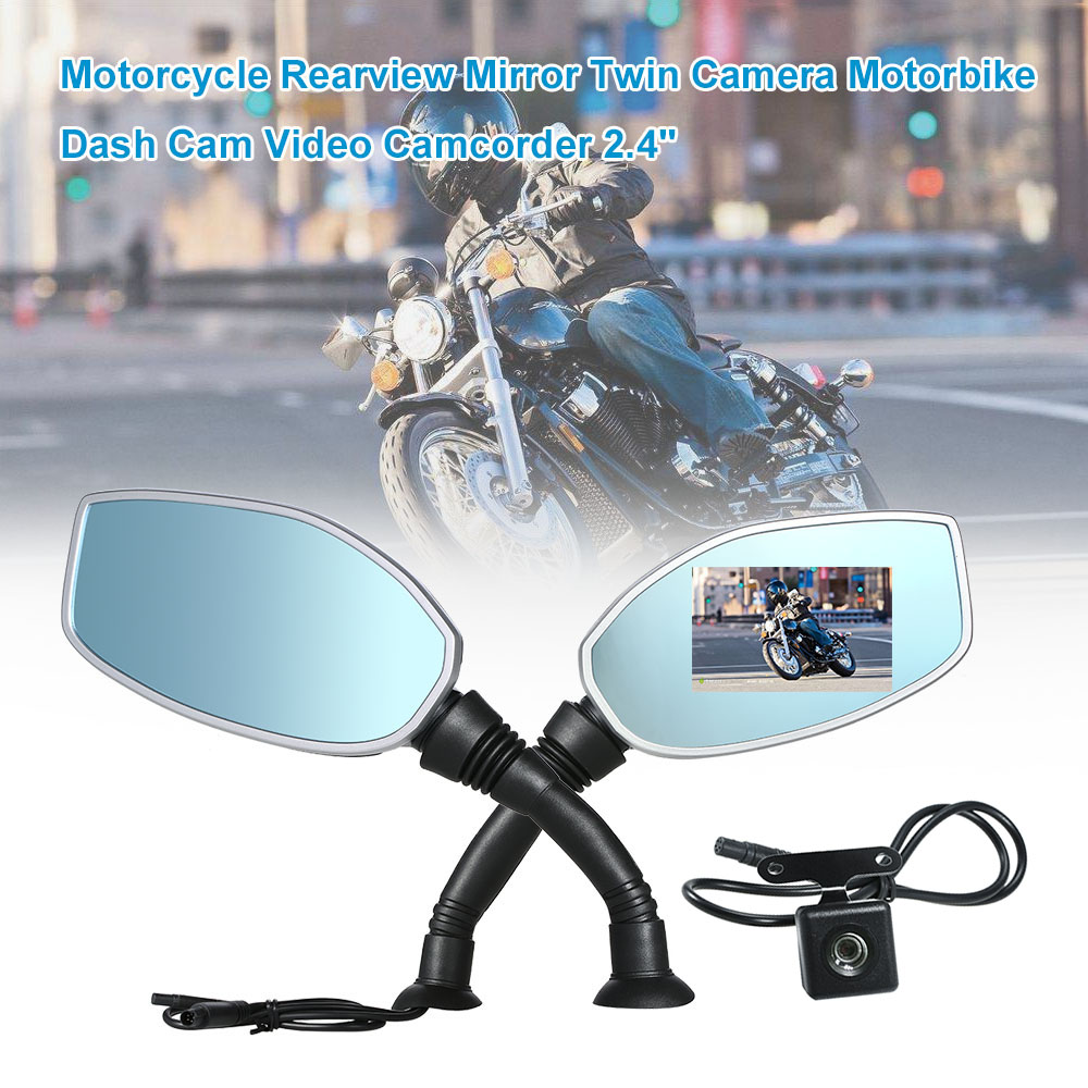 Motorcycle Rearview Mirror Twin Camera Motorbike Dash Cam Video Camcorder 2.4 Inch Screen