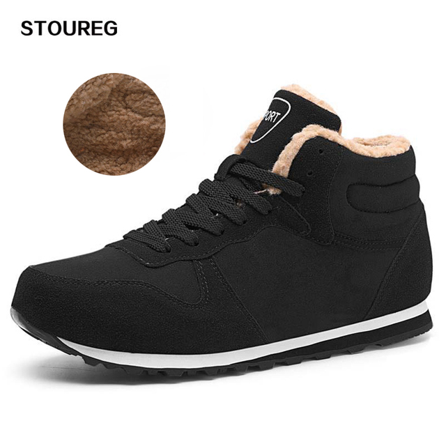Fleece Men Hiking Shoes Winter Warm Sneakers Walking Boots Outdoor Sport Tourism Trekking Mountain Climbing Shoes 40-47