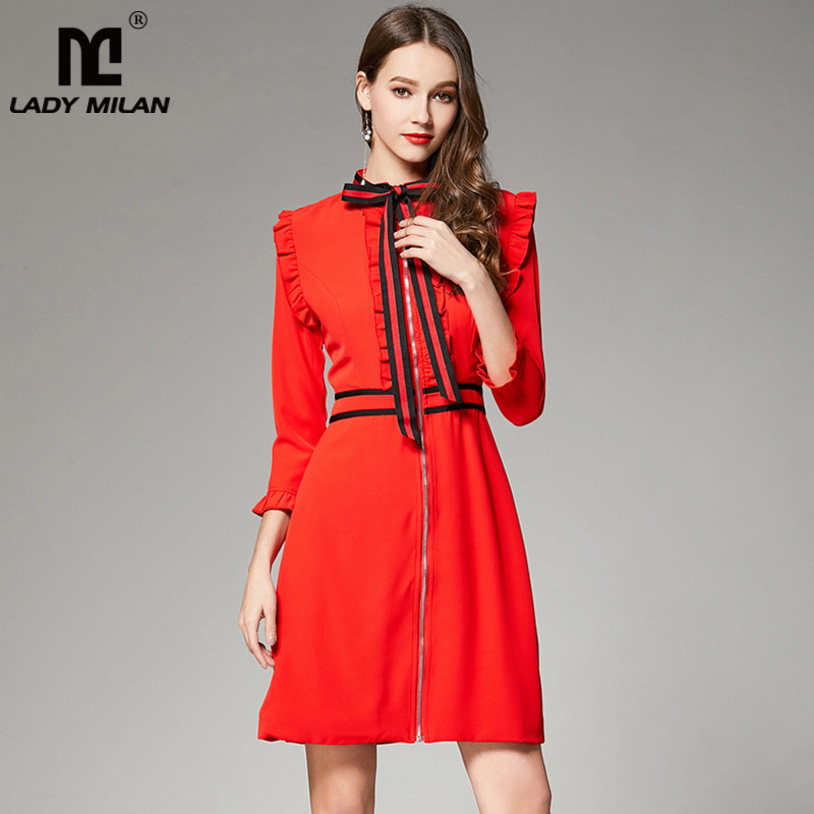 New Arrival 2018 Spring Womens Striped Bow Long Sleeves Ruffles Zipper Closure Fashion Designer Casual Short Dresses