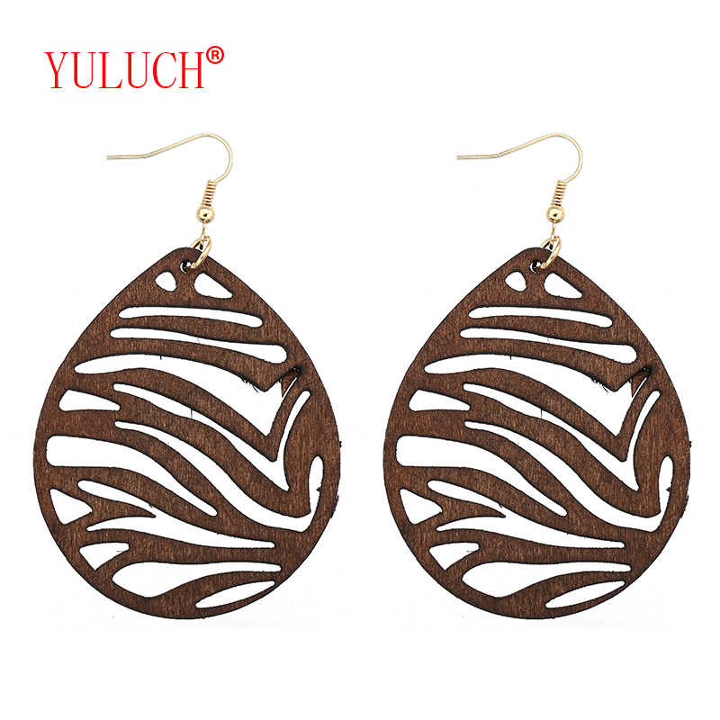 YULUCH Vintage African Natural Wooden Drops Openwork Ethnic Pattern Pendant for Ethnic Women Fashion Earrings Jewelry Gifts