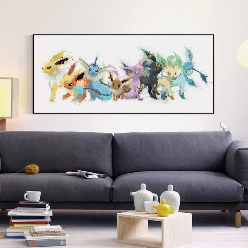 Modern Simple Oil Painting Splash Cartoon Pokemon Go Monster Cartoon Art Poster Canvas Painting Wall Picture
