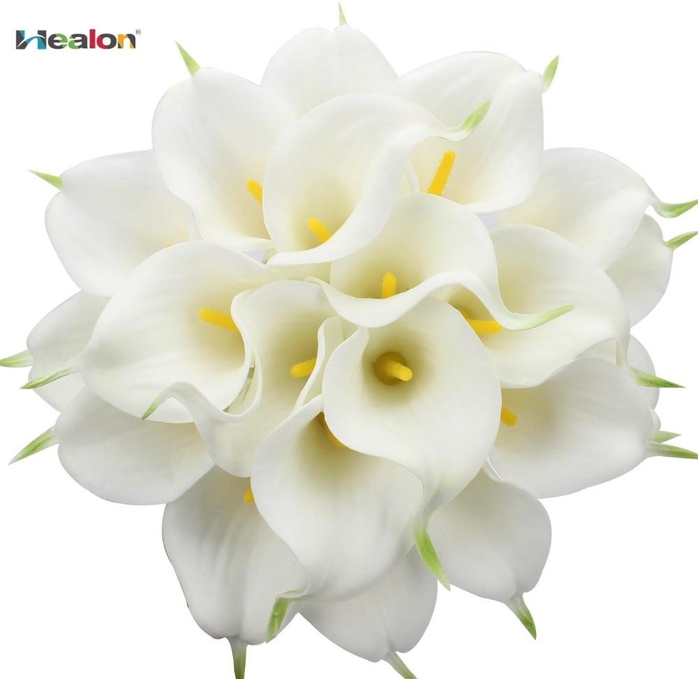 20st / lot Calla Lily Bridal Bröllop Bouquet Head Real Touch - Semester och fester