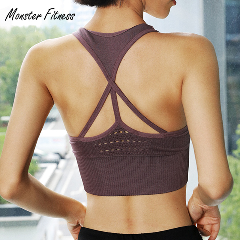 Monster Women Seamless Sports Bra for Fitness Gym Yoga Running Pad Cropped Top SportsWear Tank Tops Sports Seamless Bra Women cropped wide sleeve top