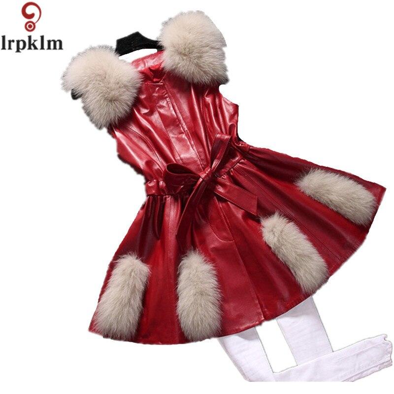 2017 nouveau femmes rouge hiver sans manches Faux renard fourrure en cuir manteau survêtement noir gilet grande taille XXXL veste en cuir synthétique polyuréthane pardessus YY331