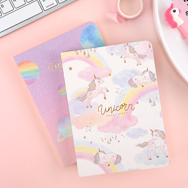 Reasonable Free Shipping 5 Styles Unicorn Notebook Fabric Cover Sketchbook Kawaii Diary Note Book Journal School Stationery Study Supplies Notebooks & Writing Pads