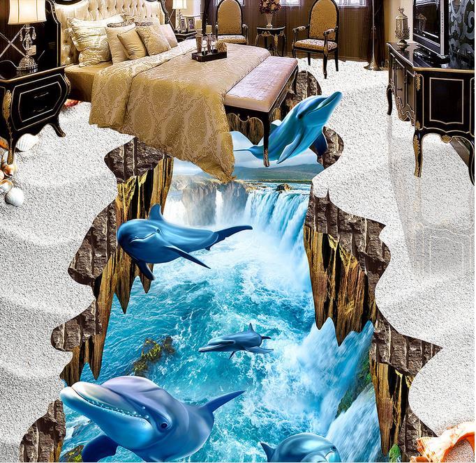 Custom 3d floor painting dolphin falls pvc vinyl flooring for Floor 3d painting