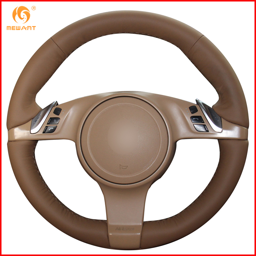 MEWANT Brown Genuine Leather Car Steering Wheel Cover for Porsche Cayenne Panamera 2010 2011 Interior Accessories
