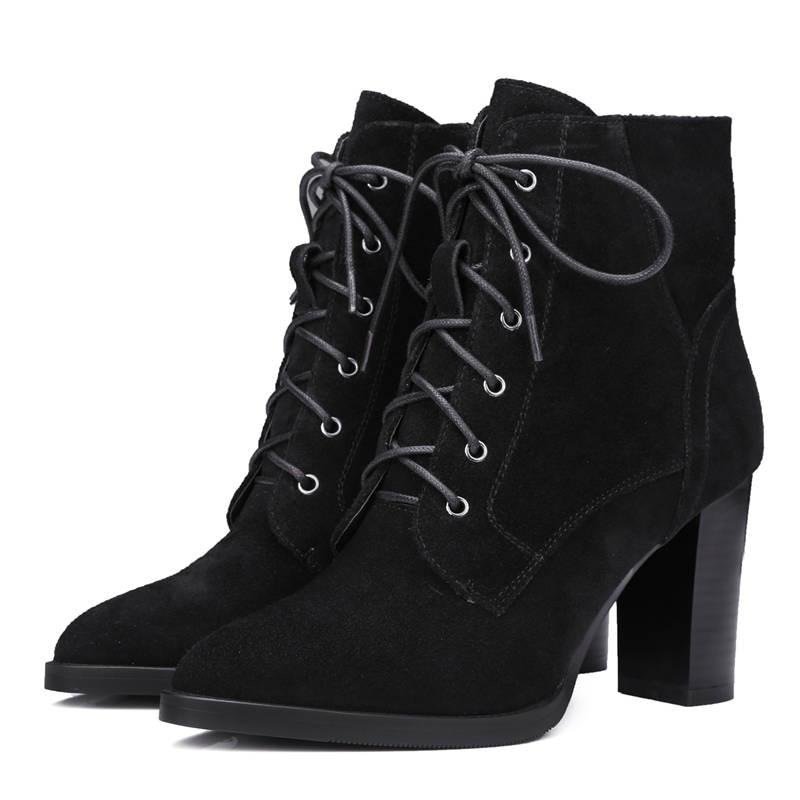 Invierno Genuino Cordones brown Zapatos Suede Felpa black Con Tobillo Otoño Black Cowhide Tacones Cuero Corta De 2018 Botas Morazora Puntiagudas Vestir Calidad Alta Suede Altos IWwFq4nxz6