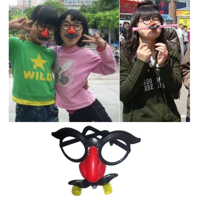 Careta máscara do palhaço engraçado óculos Tricky Brinquedos de sopro do dragão sopro do dragão olhos nariz grande