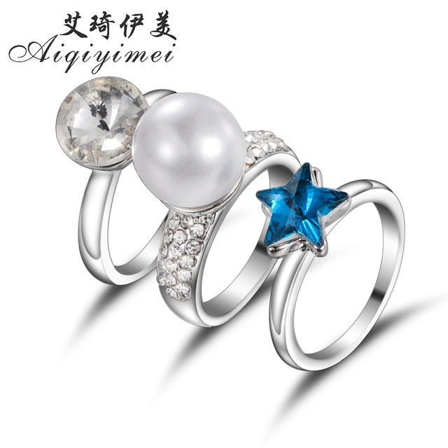 Aiqiyimei 2017 3pcs Set New Fashion Silver Color Crystal Finger