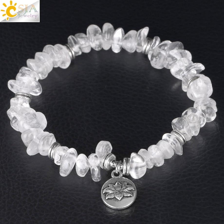CSJA Handmade Stretch Crystal Chip Bracelet Natural Stone Bracelets Irregular Gravel Lotus Flower Fittings Healing Jewelry F382