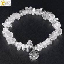 CSJA-Bracelet à puces en cristal extensible fait à la main, Bracelets en pierre naturelle, accessoires irréguliers pour fleurs de Lotus, bijoux de guérison F382