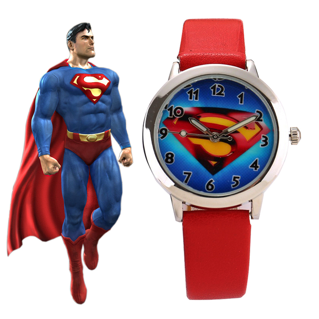 Superman Cartoon Baby Clock Watch Children Kids Students Watches Men Watches Chi