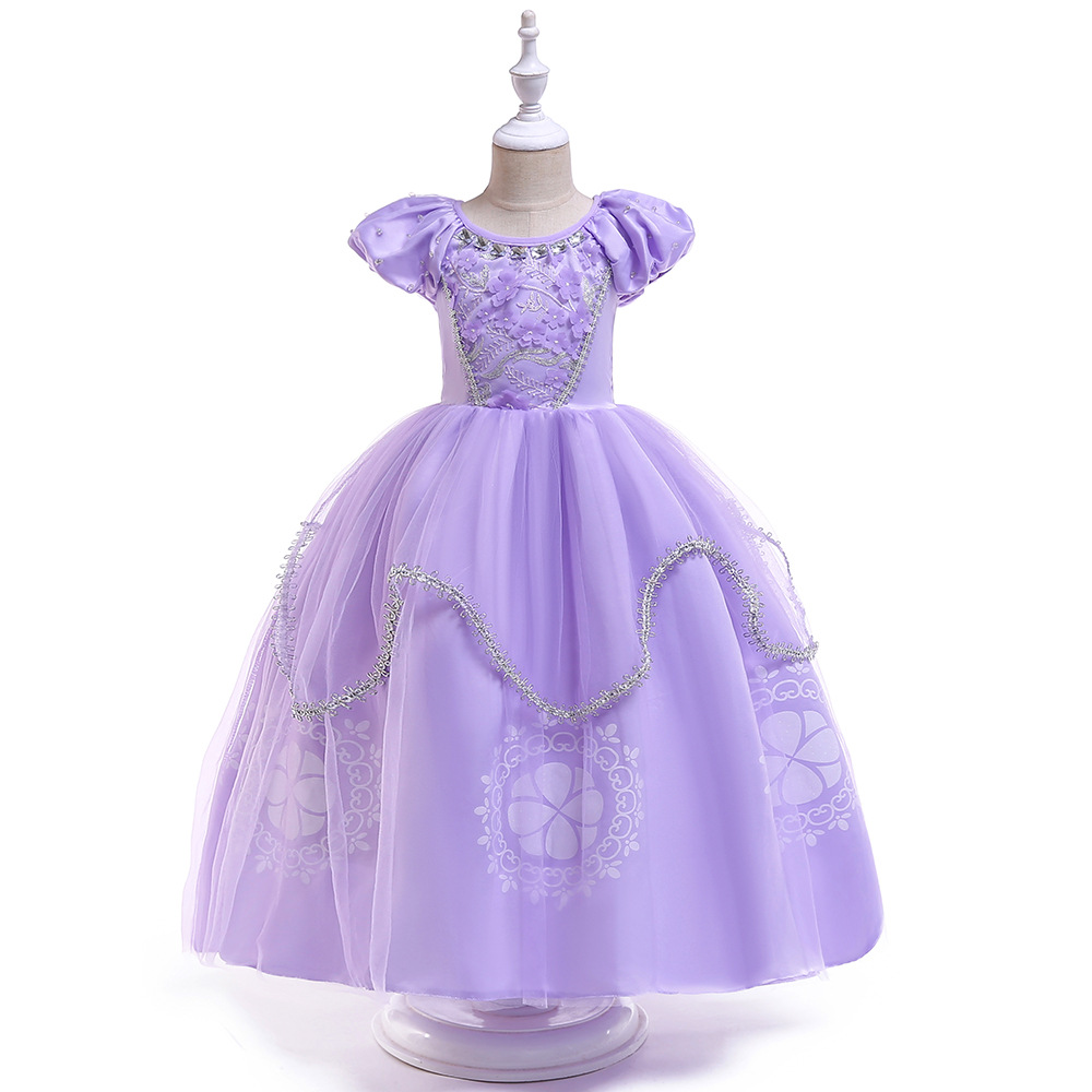 Ballgown Short Sleeves Purple New   Flower     Girl     Dresses   Puffy Kids   Dresses   For Evening Party Occasion
