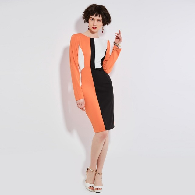 Sisjuly Women Office Bodycon Dress O Neck Long Sleeve Orange White Black  Patchwork Spring Pencil Dress Ladies Work Dresses 5a853d155