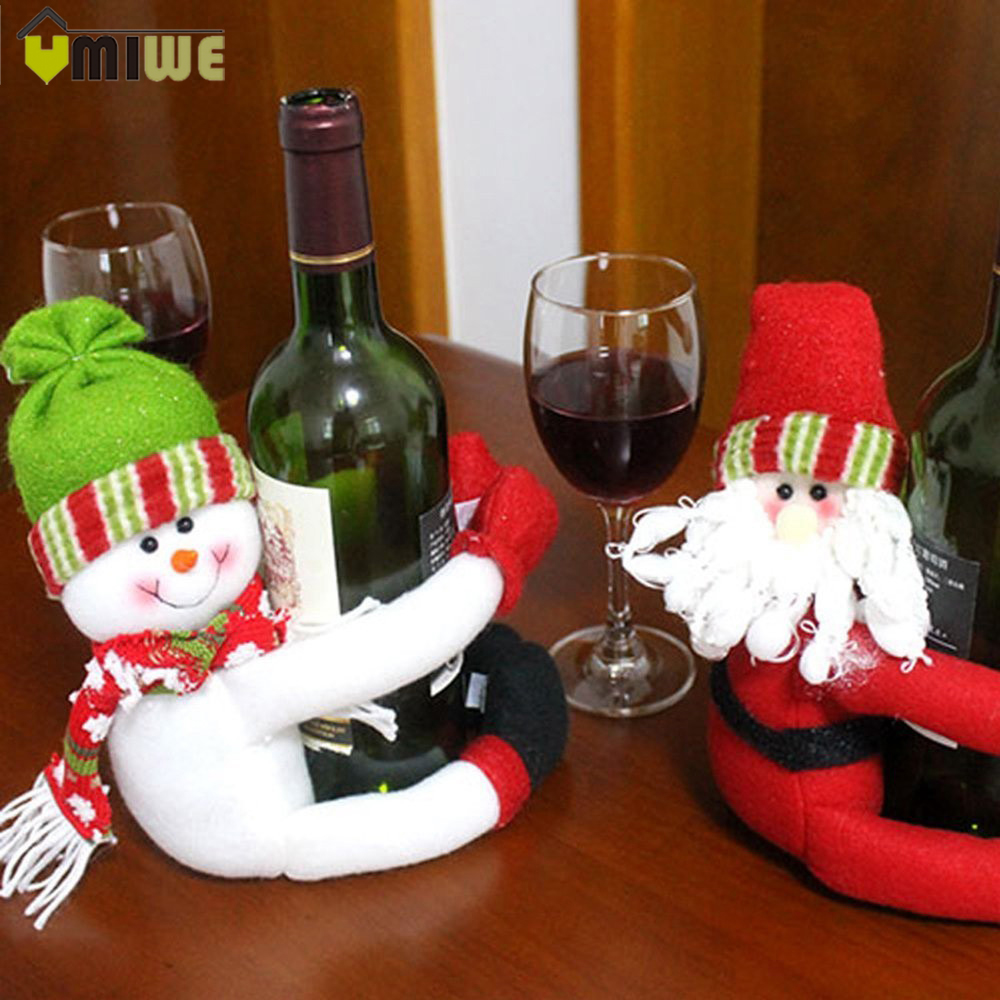 Wine bottle ornaments - 2017 Christmas Decorations For Home Santa Claus Snowman Wine Bottle Cover Holder Toy Doll Gift Home Party Table Decor Ornaments