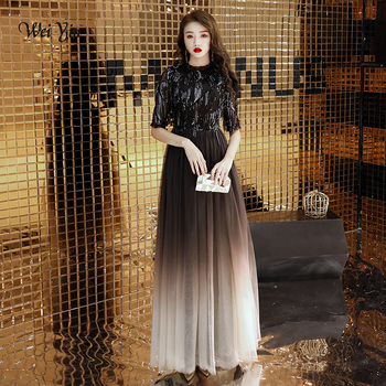 weiyin Evening Dresses Long O Neck Sequined Long Sleeves Tulle Elegant Formal Party Gowns Black Evening Gowns Robe De Soiree