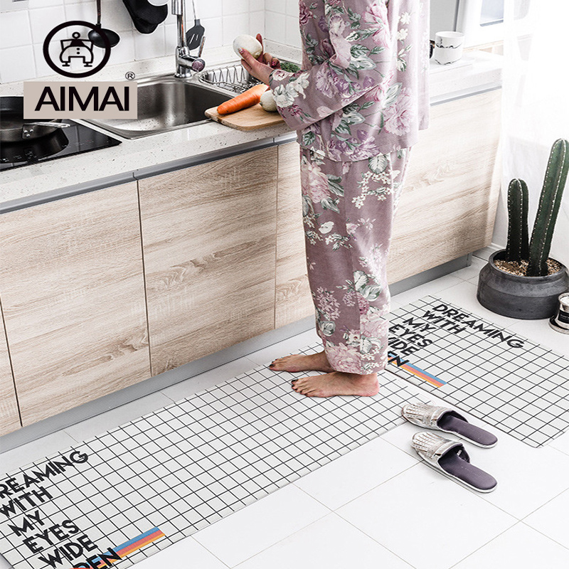 Us 35 91 10 Off Black White Check Plaid Faux Leather Waterproof Kitchen Rug Runner Washable Non Slip Comfortable Resist Fatigue Area Rugs Carpet In